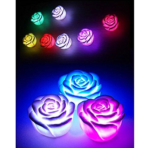Whitelotous Flameless Floating Candle Light LED Rose Flower Light Battery Operated Color Changed Lamp Light