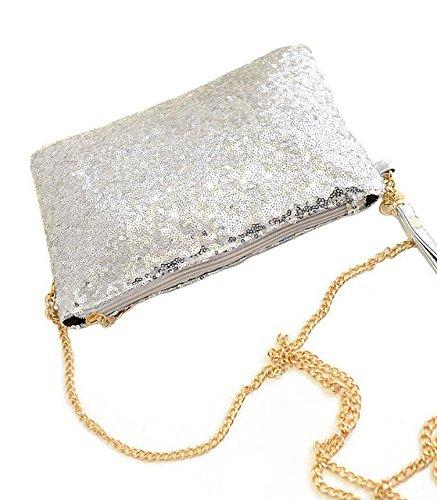 soirée enveloppe doré à main Sac Sac 26x18x2cm Paillette Vintage pour main Silver d'embrayage à U5wvqgv7x