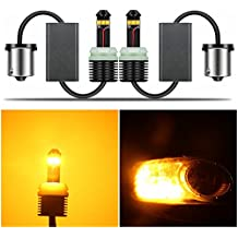 Alla Lighting Directly Plug & Play 1300 Lumens CAN-BUS Error Free 21W CREE Extremely Super Bright Yellow 7507 12496 BAU15S PY21W LED Bulbs for Turn Signal Blinker Light Lamps Replacement