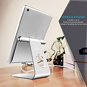 Tablet Stand Adjustable, Lamicall Tablet Holder: Desktop Holder Dock Cradle Compatible with iPad Pro 12.9, 10.5, 9.7, Air Mini 2 3 4, Nexus, Accessories, Tab (4-13 Inch) – Silver