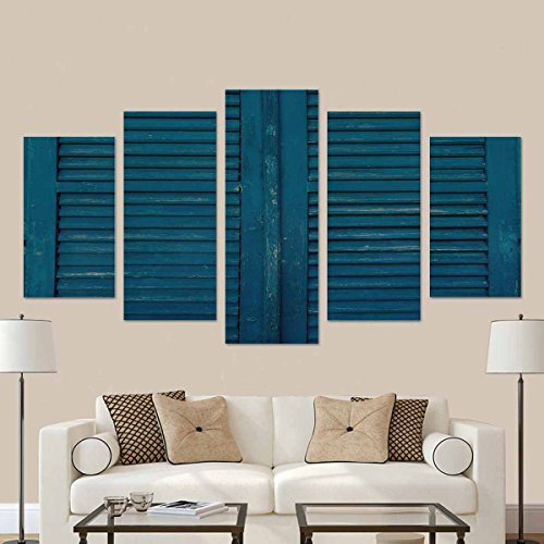 InterestPrint Ooden Window Shutters in Blue, Antique Homemade Shutters on The Windows Canvas Wall Art Painting Modern Home Decor Picture for Living Room Decor Gifts (No ()