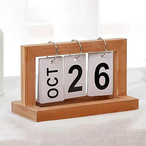 Filp Tabla Perpetuo Calendario, Retro Madera Calendario, Rústico ...