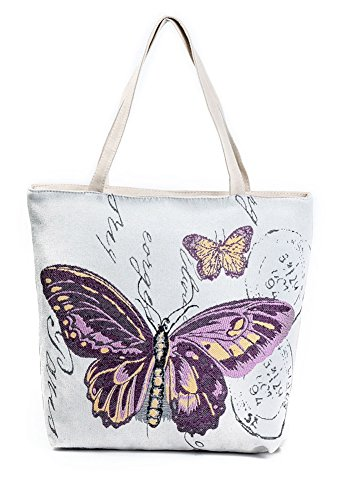 VigourTrader Embroidery Pattern Women's Canvas Tote Bag Two
