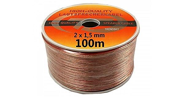 TRENDSKY® 100 m altavoz Cable transparente 2 x 1,5 mm² en bobina Hi-Fi 2 x 1,5 mm: Amazon.es: Electrónica