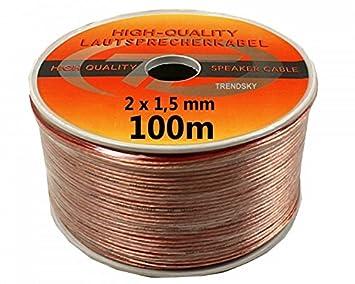 TRENDSKY® 100 m altavoz Cable transparente 2 x 1,5 mm² en bobina Hi