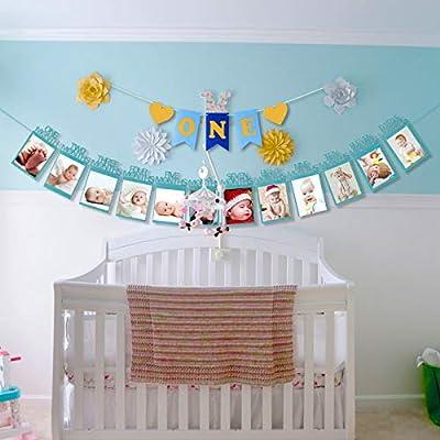 marco de fotos ZoomSky guirlada fotos papel para colgar bebe recién foto decora fiesta de primer cumpleaños de niño regalo un