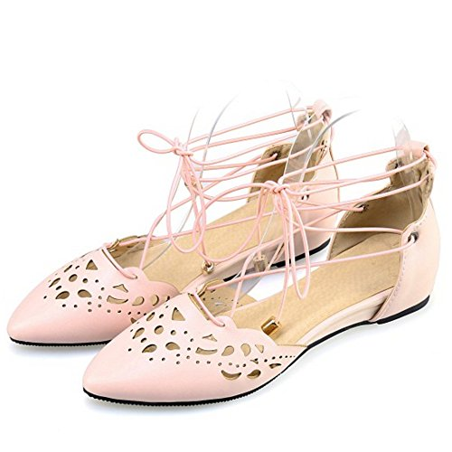 TAOFFEN Clasico Mujer Gladiador Sandalias Plano Con Cordones Puntagudo Zapatos Rosado