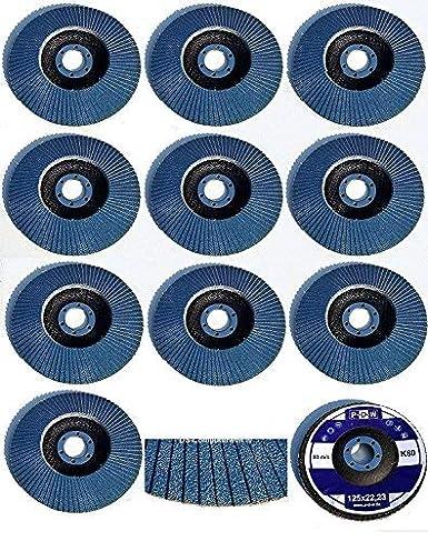 blau 10 INOX F/ächerscheiben /Ø 115 mm x 22,23 mm Korn 40 Schleifscheiben Schleifmoppteller Edelstahl