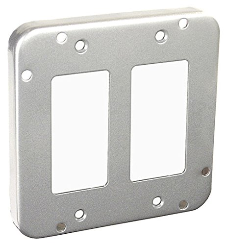 4-11/16 Inch Square 1/2 Inch Raised 2 Decorative Or Gfci Receptacles Industrial Surface Cover-1 per case