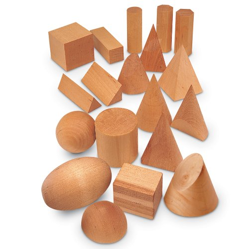 Wooden Stacking Cones (Learning Resources Wood Geometric Solids, Set Of 19)
