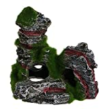 Techinal Aquarium Fish Tank Ornament Rockery Hiding Cave Moss Landscape Underwater Decor