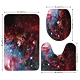 3 Piece Bathroom Mat Set,Space Decorations,Space Nebula with Star Cluster in the Cosmos Universe Galaxy Solar Celestial Zone,Teal Red Pink,Bath Mat,Bathroom Carpet Rug,Non-Slip