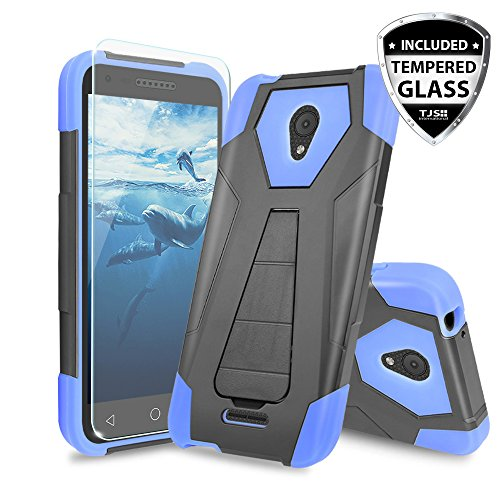 Alcatel Verso Case, Alcatel idealXCITE Case, Alcatel CameoX Case, Alcatel Raven LT Case, TJS [Tempered Glass Screen Protector] Shock Absorbing Phone Cover Kickstand Silicone Inner Layer (Blue/Black)