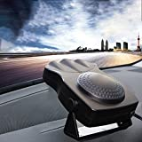 Ferryone Portable Car Heater, 30 Seconds Fast Heating Quickly Defrosts Defogger 12V 150W Auto Ceramic Heater Cooling Fan 3-Outlet(Black)