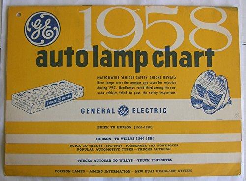 GE 1958 auto lamp chart. - Miniature Lamp Lamps Ge
