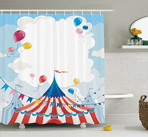 Funny Shower Curtain Circus Decor by Ambesonne, Circus Day Canvas Tents and Cloudy Summer Entertainment Festive Season Theme Image, Fabric Bathroom Shower Curtain Set, 75 Inches Long, Blue Red Pink - Circus Art Printed Canvas