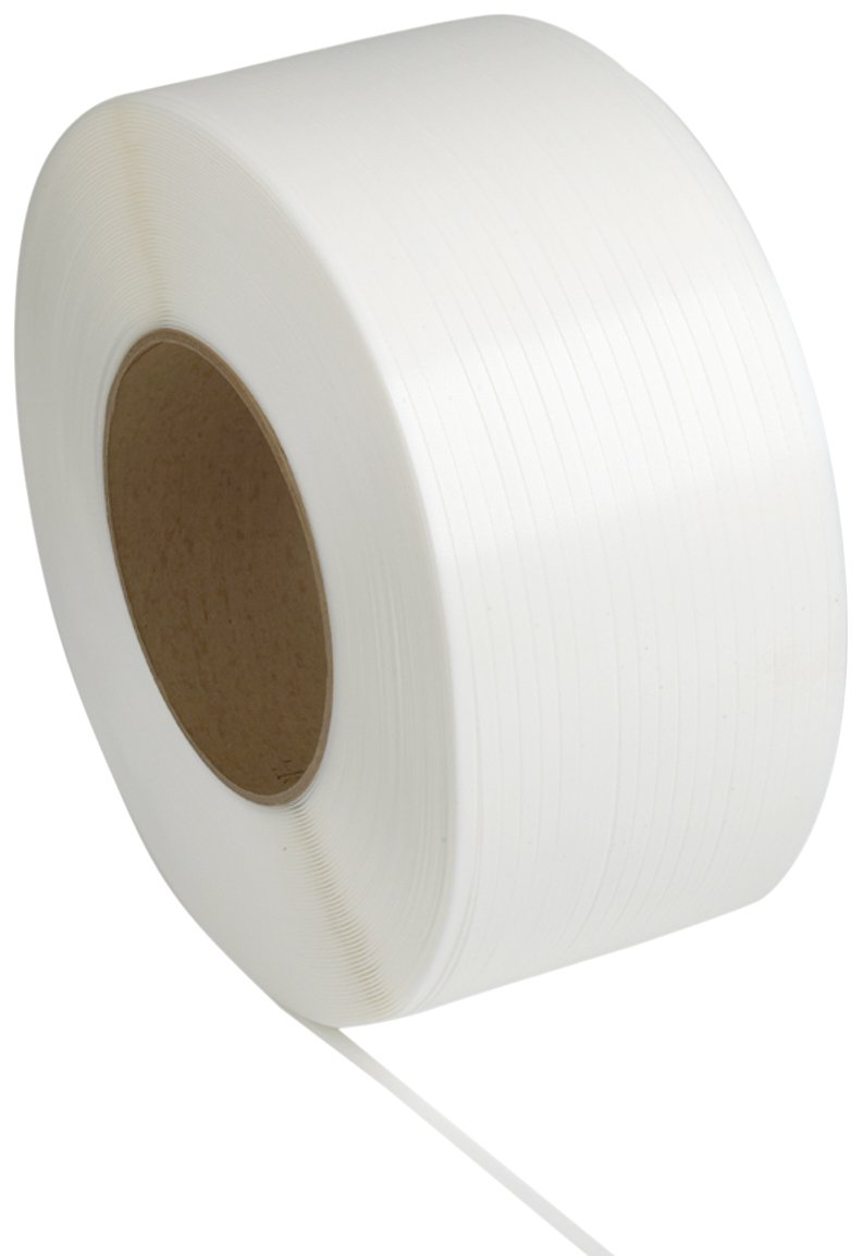 PAC Strapping 48M.50.2272 Polypropylene Machine Grade Strapping, 7,200' Length, 1/2'' Width, White
