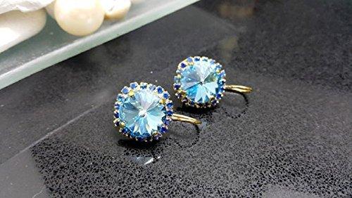 - Swarovski Crystal earrings, Blue Topaz earrings, Gift for her, Gold earrings, Blue sapphire halo earring