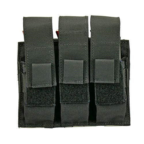 Triple Pistol Magazine Pouch, Nylon, MOLLE Compatible, Hand-Gun Mag Holder Suitable for Both Single and Double Stack (17,19, 43, 45, 21, 1911) Multitool, Flashlight and Folding Knife (Black)