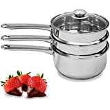 Double Boiler & Steamer Pot by Purelife - Induction Cookware Stainless Steel Chocolate Melting & Cooking Pot with Tempered Glass Lid, Dishwasher & Oven Safe - 3 Qt & 4 Pieces Kitchen Set