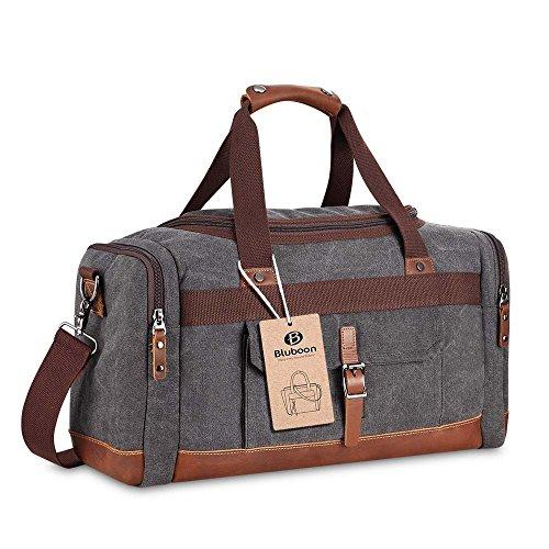 Canvas Reisetasche Vintage Weekender Damen Herren Segeltuch Handgepäck(Grau)