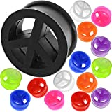 0 00 gauges Ear Plugs Flesh Tunnels Silicone Steel Screw Double Flared Stretcher Taper 0 gauges 0g 8mm