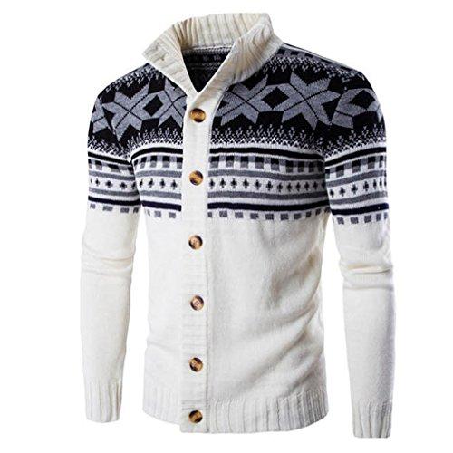 Mens Shirt,Haoricu Autumn Men Rertro Elegant Knit Sweater Coat Winter Jacket Outwear (M, White)