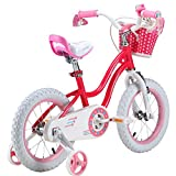 Royalbaby RB12G-1P Stargirl Girls Bike with Training Wheels and Basket, for Kids. 12 Inch Wheels, Pink