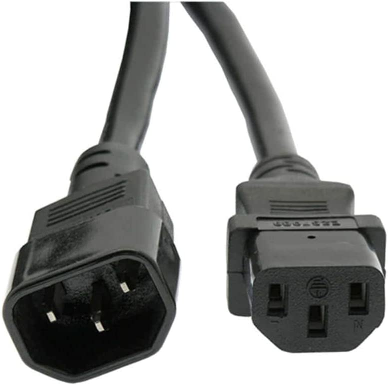 10FT Power Extension Cord C13 to C14 Black//SJT 16//3-24PK