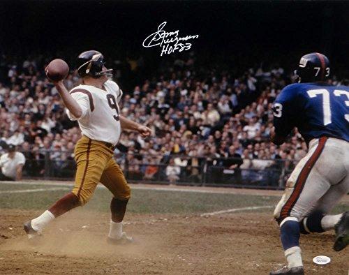 Sonny Jurgensen HOF Signed Redskins 16x20 Passing Against Giants Photo- JSA W Auth