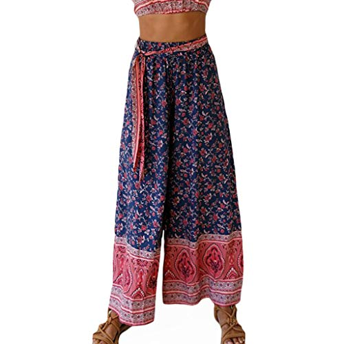 Clearance Wide Leg Palazzo Lounge Pants for Womens, Jiayit Fashion Woman Summer Print Strappy Straight Wide leg Leisure Plus Size Pants with ()