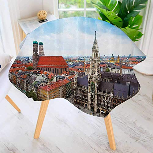 """CANCAKA Round Tablecloth Polyester-City Centre of Marienplatz New Town Hall Glockenspiel cade Rooftop Sightseeing Great for Buffet Table, Parties, Holiday Dinner 43.5"""" Round"""