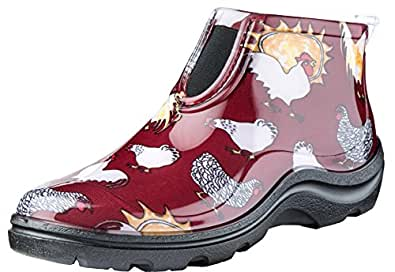 Sloggers Women's Waterproof Rain and Garden Ankle Boots with Comfort Insole, Chickens Barn Red, Size 7, Style 2841CBR07