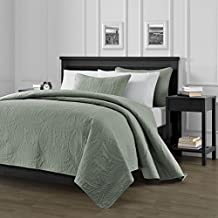 "Chezmoi Collection Austin 3-piece Oversized (118\""x106\"") Bedspread Coverlet Set King, Sage"