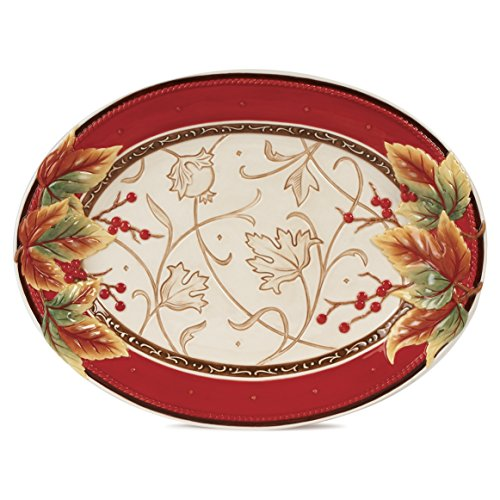 - Bountiful Holiday Collection, Serving Platter, Red/White