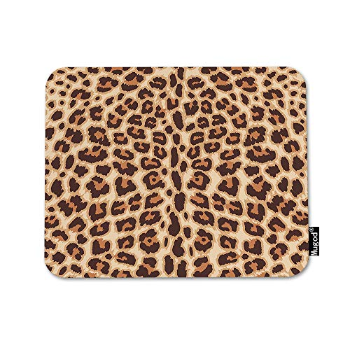 Mugod Animal Print Mouse Pad Leopard Pattern Sexy Fashionable Chocolate Color Brown Mouse Mat Non-Slip Rubber Base Mousepad for Computer Laptop PC Gaming Working Office & Home 9.5x7.9 Inch