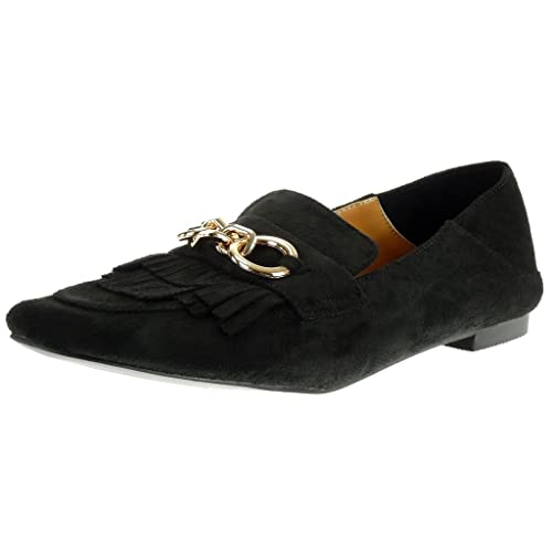 chaussures de sport 54477 b4d3f Angkorly - Chaussure Mode Mocassin Slip-on Femme Frange chaïnes doré Talon  Bloc 1 CM