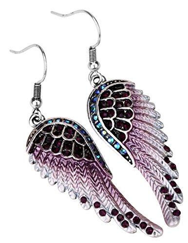 Angel Jewelry Women's Crystal Angel Wings Dangle Earrings -