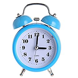 DONEE Alarm Clock for Heavy Sleepers, 3 Twin Bell Silent Non Ticking Bedside Wind Up Alarm Clock With Nightlight for Bedrooms, Heavy Sleepers