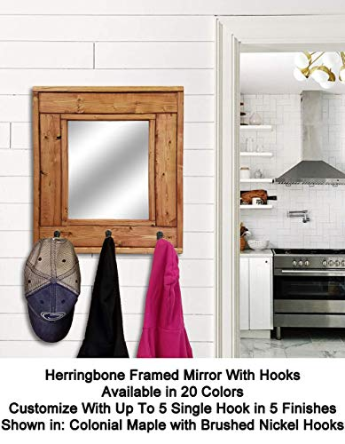 Herringbone Mirror with Hooks - Customize With Up To 5 Single Hooks - Shown In Colonial Maple - Rustic Decor - Decorative Mirror - Hanging Hooks - Coat Hooks - Key Hooks - Hat Hooks