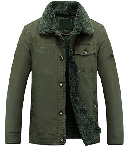 Single Lined Breasted Army Winter Jacket Men's Sherpa Barn Twill Work Green Chouyatou E7q6wXx1E