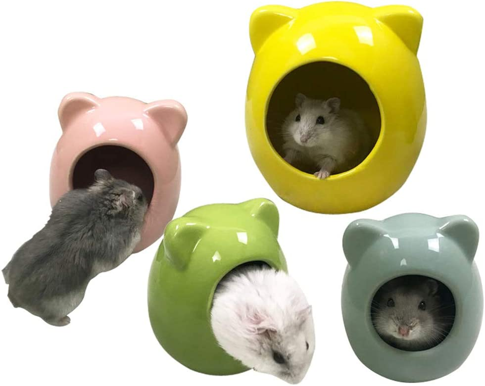 Yellow ULTECHNOVO Hamster Nest Shell Design Ceramic Cage Pet House Bedroom Mini Hamster Mice Small Animal Cottage Warm Home Toys for Hamster Chinchilla Small Animals
