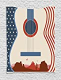 Ambesonne Music Decor Tapestry, Country Music Festival Event Illustration Guitar with American Flag Design Inspiration, Bedroom Living Room Dorm Decor, 40 W x 60 L Inches, Cream Red Blue