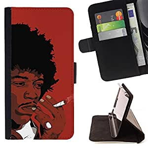 DEVIL CASE - FOR LG Nexus 5 D820 D821 - Black Man Smoking African Curly Hair Art Drawing - Style PU Leather Case Wallet Flip Stand Flap Closure Cover