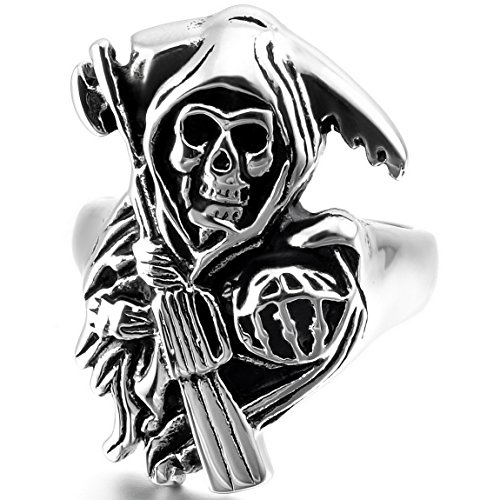 INBLUE Men's Stainless Steel Ring Band Silver Tone Black Death grim Reaper Skull Casted Size11