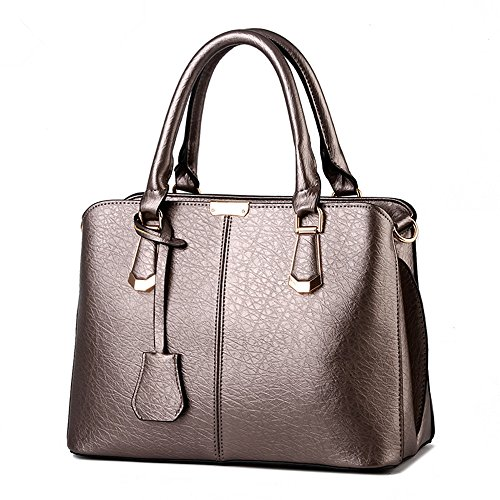 Bronze Fabric Handbags (XIN BARLEY Women's PU Leather Fashion Handbag Crossbody Bag Top-Handle Shoulder Bags Bronze)