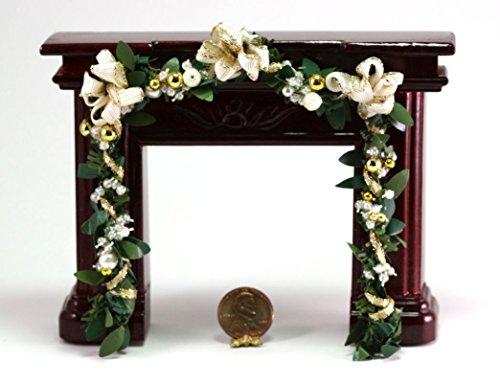 Miniature 1:12 Scale Artisan Holiday Fireplace Garland in White and Gold with Faux Pearls (Garland Faux Holiday)