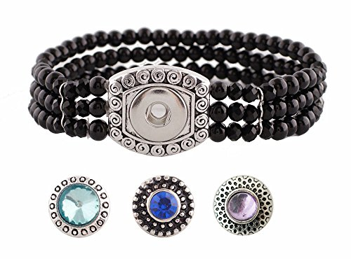 Bracelet Stretch 1/2 - Chunk Snap Charm Stretch Bracelet Black Pearls and Beads for 12mm Mini Petite Snaps 1/2