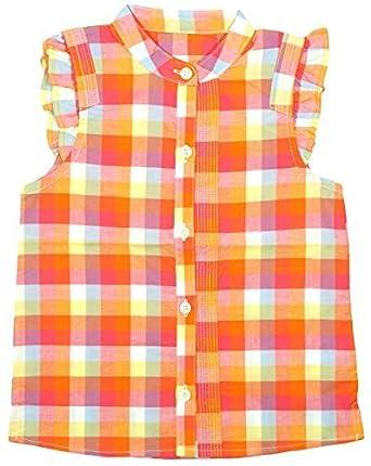1448db09989a Mädchen Ärmellos Rüsche Bluse Orange Kariert Sommer Sonne Hemd größen von 1  bis 5 Jahre -