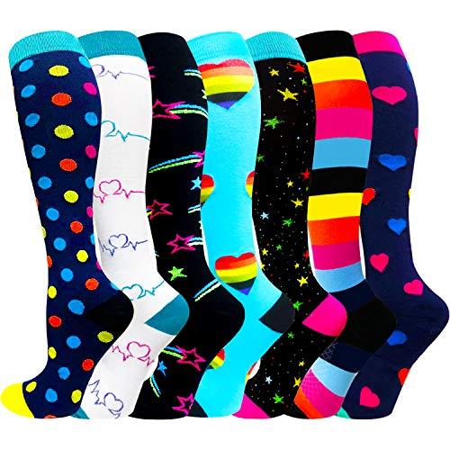 Compression Socks for Women & Men(1/3/7/8 Pack) - Best for Running,Medical,Nurse,Travel,Cycling-20-30mmHg